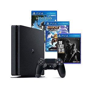 Console PS4 500GB Hits Bundle + 3 Jogos+Controle DualShock 4