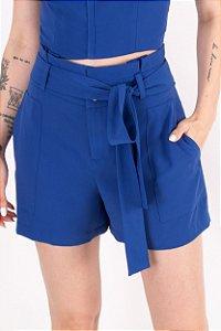 Short Maria Clara Fit Crepe - Azul Grécia