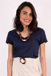 Blusa T-shirt Fresh Linho Marinho