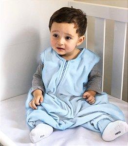 Saco de dormir bebê com pezinho em Microsoft Azul Claro [Inverno]