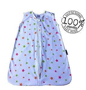 Saco para bebê dormir em malha 100% algodão estrela rosa (verão)