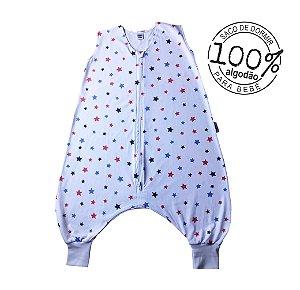 Saco de dormir infantil com pezinho em malha 100% algodão estrela azul (verão)