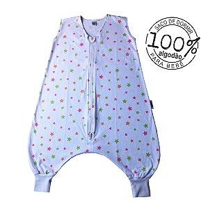 Saco de dormir infantil com pezinho em malha 100% algodão estrela rosa (verão)