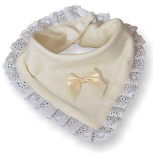 Babador bandana dupla face princesa para bebê bege malha 100% algodão