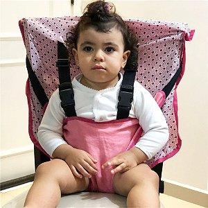 Cadeirinha Assento Portátil para Bebê em Tecido Rosa Poa