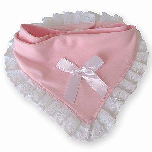 Babador bandana princesa para bebê rosa claro 100% algodão
