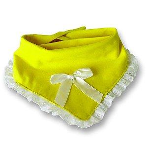 Babador bandana dupla face princesa para bebê amarelo malha 100% algodão