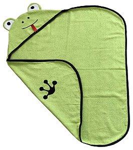 Toalha de banho com capuz de bichinho sapo para bebê 100% algodão
