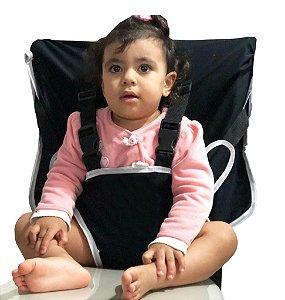 Cadeirinha Assento Portátil para Bebê em Tecido Preto