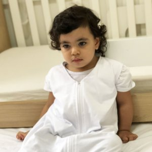 Saco para bebê dormir em malha 100% algodão branco (primavera/verão)