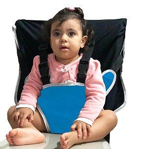 Cadeirinha Assento Portátil para Bebê em Tecido azul liso com preto