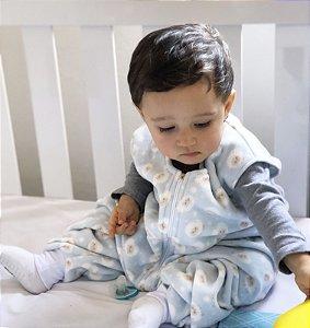 Saco de dormir antialérgico para bebê com pezinho Azul Ovelhinha [Outono/Inverno]