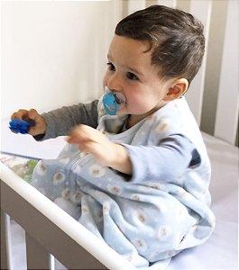 Saco de dormir antialérgico para bebê azul estampa ovelhinha (outono/inverno)