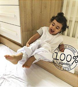 Saco de dormir infantil com pezinho em malha 100% algodão branco (verão)