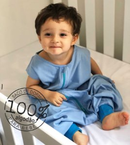 Saco de dormir infantil com pezinho em malha 100% algodão azul (verão)