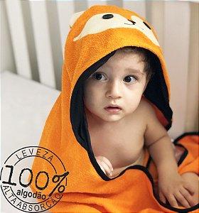 Toalha de banho felpuda com capuz raposinha para bebê 100% algodão