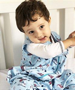 Saco de dormir para bebê em Moletinho Azul 100% algodão (Meia Estação) *Exclusividade Pipirica*