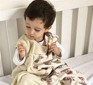 Saco de dormir antialérgico para bebê creme ursinho (outono/inverno)