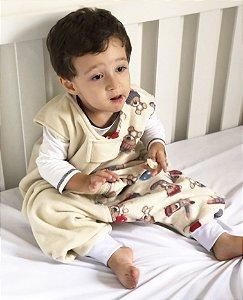 Saco de dormir antialérgico para bebê com pezinho Creme Ursinho [Outono/Inverno]