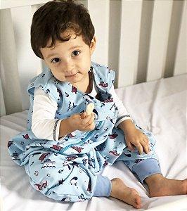 Saco de dormir para bebê com pezinho em Moletinho Azul 100% Algodão (Meia Estação) *Exclusividade Pipirica*