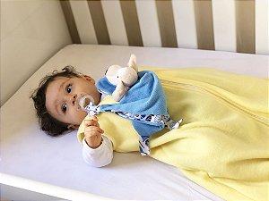 Saco de dormir antialérgico para bebê amarelo liso (outono/inverno)