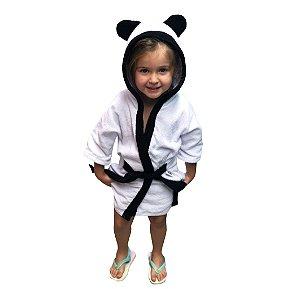 Roupão de banho atoalhado 100% algodão capuz Panda