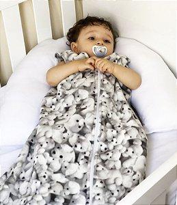 Saco de dormir para bebê sem manga cinza ursinho (outono/inverno)