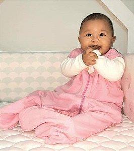 Saco de dormir sem manga para bebê em Moletom Rosa Liso (outono/inverno)