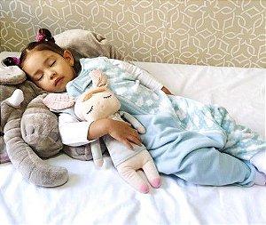 Saco de dormir bebê com pezinho em Microsoft azul nuvem [Inverno]