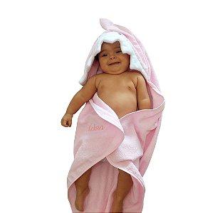 Toalha de banho para bebê com capuz baby shark rosa em atoalhado 100% algodão