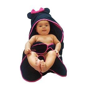 Toalha de banho para bebê com capuz Minnie em atoalhado 100% algodão