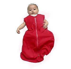 Saco de dormir para bebê em Moletinho Vermelho (Meia Estação) *Exclusividade Pipirica*
