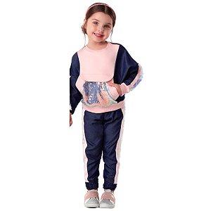 Conjunto infantil Petit Cherie fashion blusa e calça paêtes