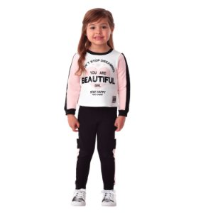 Conjunto Infantil Petit Cherie de moletom blusa com calça beautiful