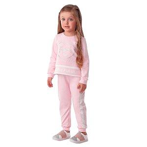Conjunto de moletom infantil Petit Cherie blusa e calça rosa coração