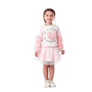 Conjunto infantil Petit Cherie inverno blusa pelinho saia tule rosa
