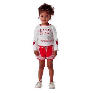 Conjunto infantil Petit Cherie inverno blusa e short vermelho