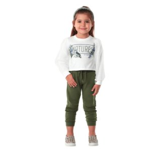 Conjunto infantil Petti Cherie inverno blusa calça moletom verde