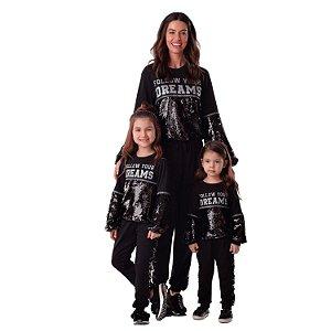 Conjunto infantil moletom inverno blusa calça paetês preto Tamanho 2