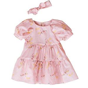 Vestido de bebê Petit Cherie natural orgânico floral rosa