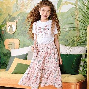 Conjunto infantil Petit Cherie natural orgânico blusa saia bicicleta
