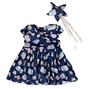 Vestido de bebê Petit Cherie natural orgânica azul marinho