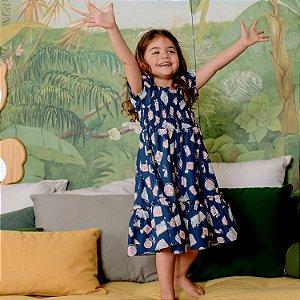 Vestido infantil Petit Cherie natural orgânico azul marinho