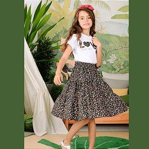 Conjunto infantil Petit Cherie natural orgânico blusa saia midi preto