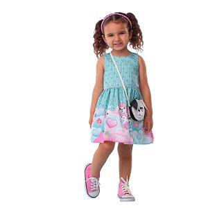 Vestido infantil Mon Sucré com bolsinha cachorrinho verde e rosa