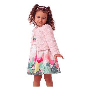 Bolero infantil Mon Sucré pelinho rosa claro