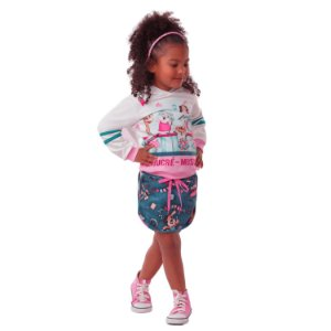 Conjunto infantil Mon Sucré inverno blusa saia moletom verde rosa