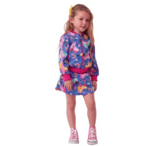 Conjunto infantil Mon Sucré jaqueta bomber saia patins azul pink