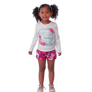 Conjunto infantil Mon Sucré blusa manga longa e shorts coala Tamanho 8