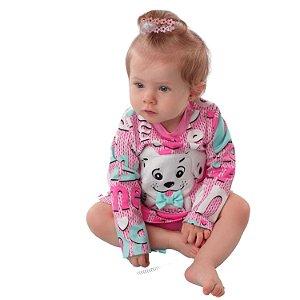 Vestido de bebê manga longa inverno Mon Sucré cachorrinho rosa